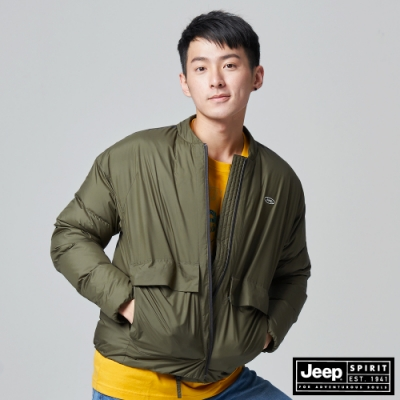 Jeep 男裝 極保暖防寒輕羽絨外套-軍綠