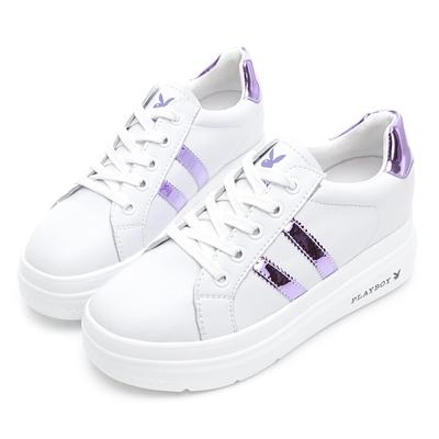 PLAYBOY  閃耀絢彩 輕量厚底小白鞋 -白貝殼-Y73051K