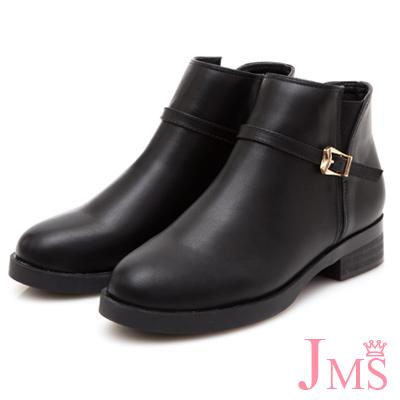 JMS-韓風雅緻素面拼接細扣環拉鍊短靴-黑色