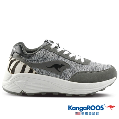 KangaROOS 美國袋鼠鞋 女 BLAZE 都會老爹鞋/休閒鞋(灰/斑馬紋-KW11218)