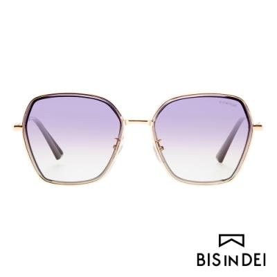 BIS IN DEI 金屬多角形框太陽眼鏡-紫