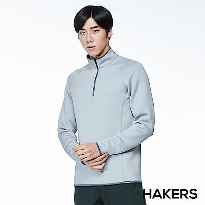 【HAKERS】男款 半開襟保暖快乾衫(灰色)