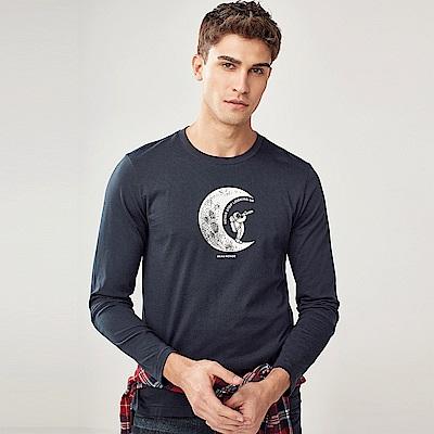 GIORDANO 男裝圓領英文標語長袖印花T恤-41 標誌海軍藍