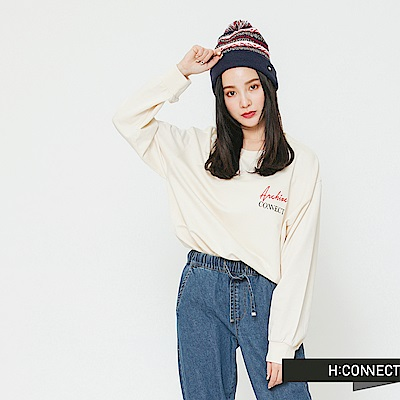 H:CONNECT 韓國品牌 女裝-標語印製長袖上衣-卡其