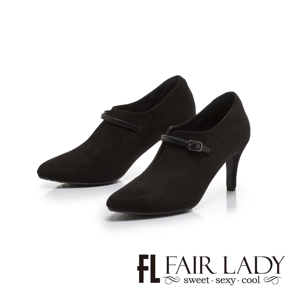 FAIR LADY輕奢華.尖頭絨布細帶裝飾細跟靴 黑