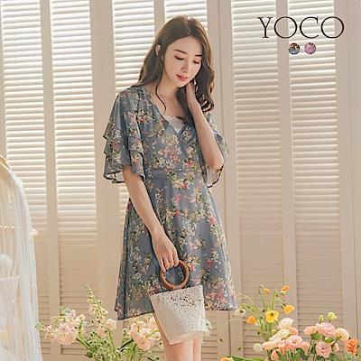 東京著衣-YOCO 浪漫女神V領層次喇叭袖花洋裝-S.M.L-(共二色)