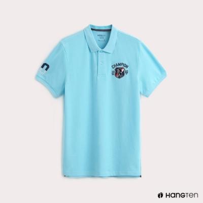 Hang Ten-男裝彈性圖標刺繡POLO衫-淺藍