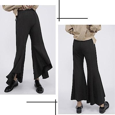 設計所在Style-新品喇叭休閒顯瘦黑色九分寬管褲
