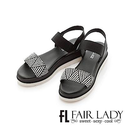 Fair Lady 幾何拼接一字厚底涼鞋 黑
