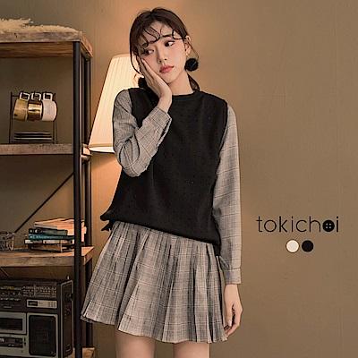 東京著衣 買到划算學院風兩件式百褶裙洋裝(共二色)