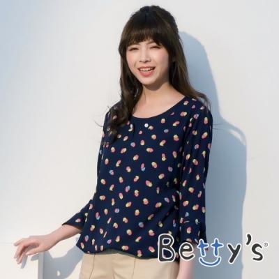betty's貝蒂思 雪紡印花荷葉袖上衣(深藍)