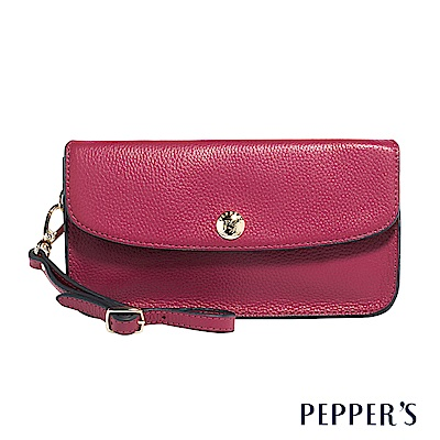 PEPPER`S Doris 牛皮掀蓋手拿包 - 櫻桃紅