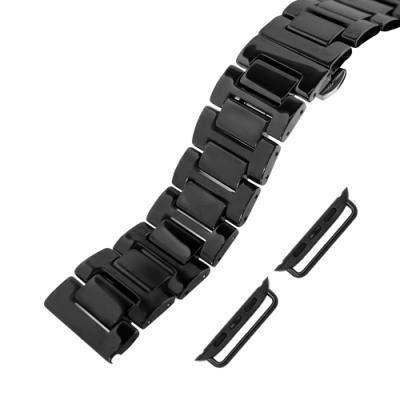 Apple Watch 蘋果手錶替用錶帶 蝴蝶雙壓扣 陶瓷錶帶-黑色