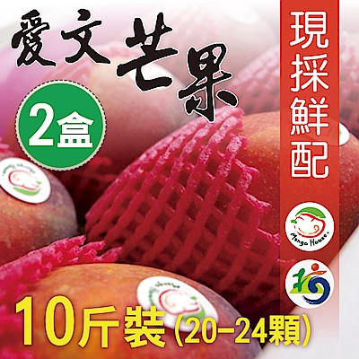 Mango House 枋山愛文芒果 10斤x2箱(20~24顆/箱) 輸日等級蘋果檨