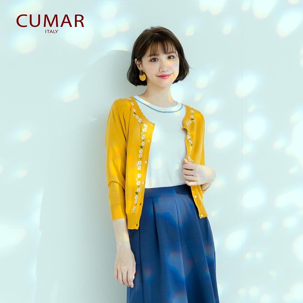【CUMAR】繡花珍珠釦-女長袖針織衫(三色/魅力價格/版型適中)