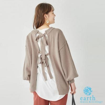 earth music 2WAY雙蝴蝶結蓬袖針織上衣/外套