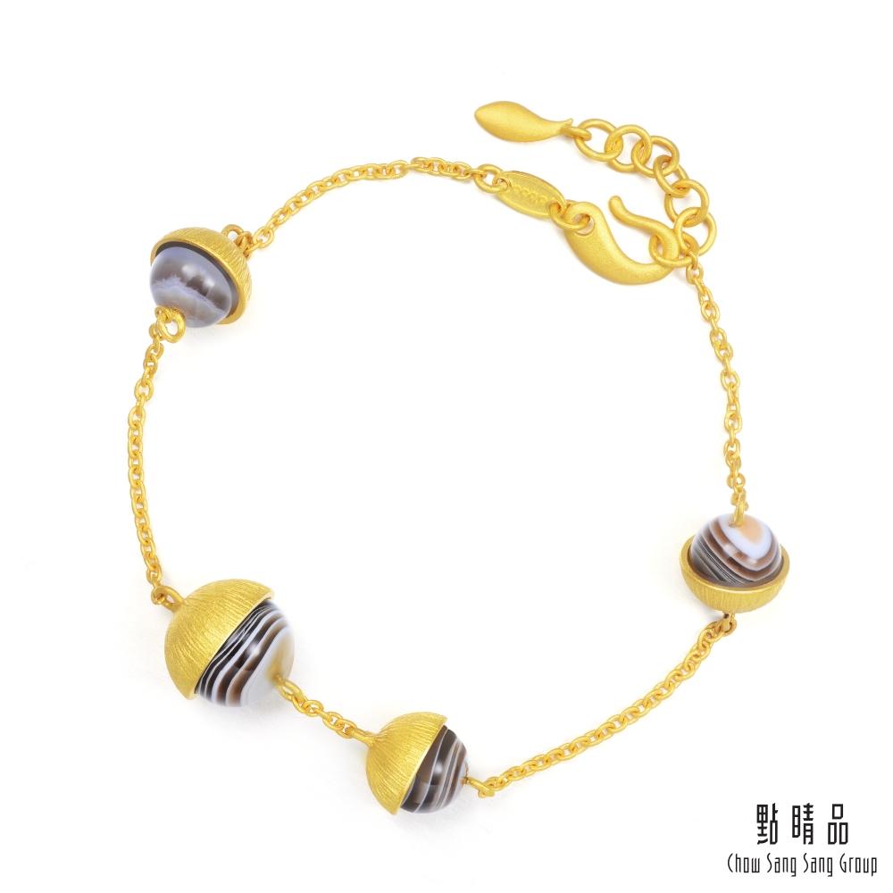 點睛品 G系列 時尚圓形瑪瑙純金手鍊
