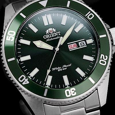 ORIENT 東方錶 WATER RESISTANT系列 200m潛水錶 鋼帶款 綠色 RA-AA0914E - 44.0mm