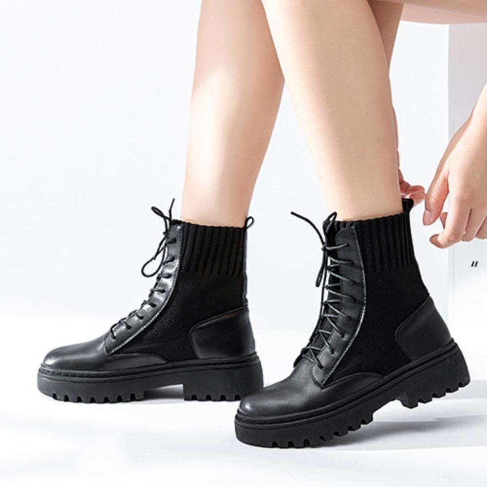 LN 現+預 英倫風真皮針織拼接厚底馬丁靴-黑色
