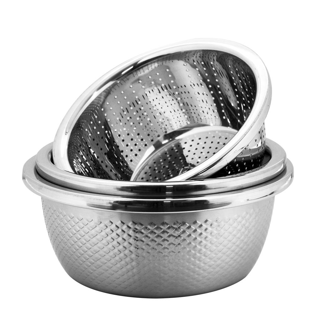 魔法瓶嚴選 304不鏽鋼洗米盆24cm+調料盆26cm+湯鍋和麵盆28cm三件組