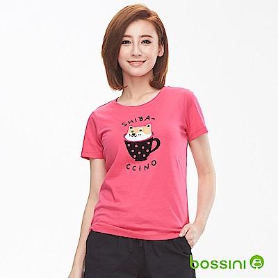 bossini女裝-印花短袖T恤20桃紅