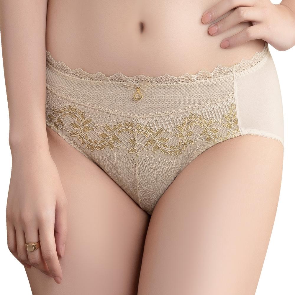 思薇爾 慕夏金迷系列M-3XL蕾絲中腰三角內褲(蛋霜膚)