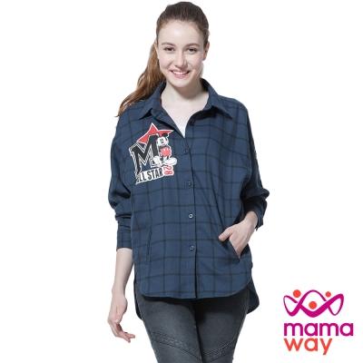 孕婦裝 哺乳衣 迪士尼米奇貼布繡孕哺格紋平織衫(共二色) Mamaway