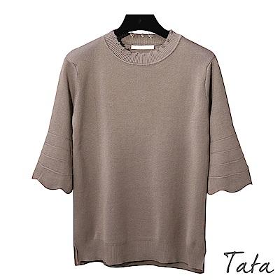 圓領花邊七分袖開叉上衣 共四色 TATA