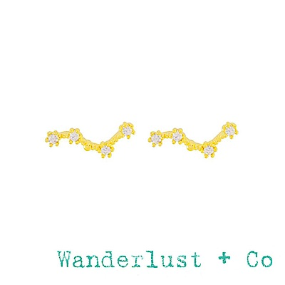 Wanderlust+Co 澳洲品牌 雙魚座耳環 金色鑲鑽耳環 PISCES