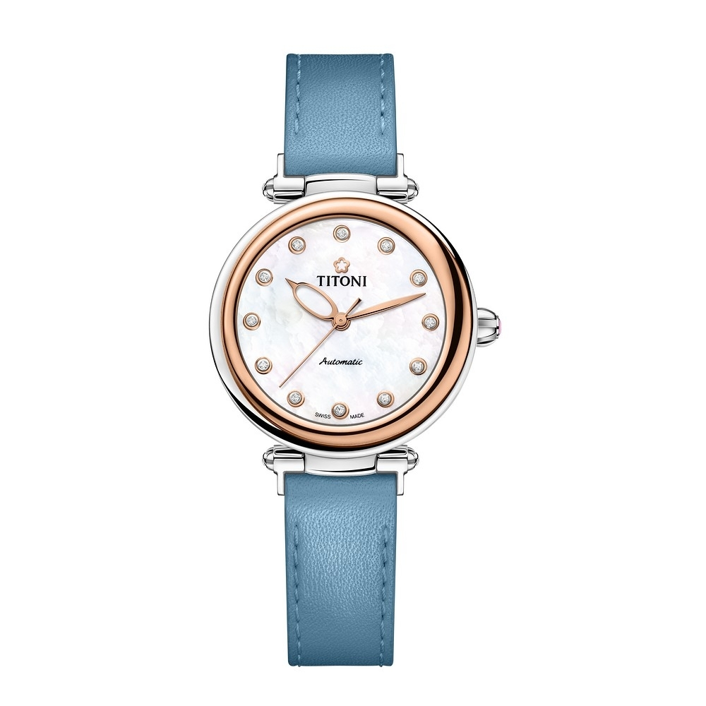 TITONI瑞士梅花錶 炫美時尚快拆系列-玫瑰金/珍珠母貝/湛青藍皮帶/33.5mm (23978 SRG-STS-622)