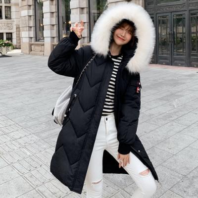 韓版大毛領寬鬆羽絨棉保暖長大衣外套M-3XL(共四色)-WHATDAY