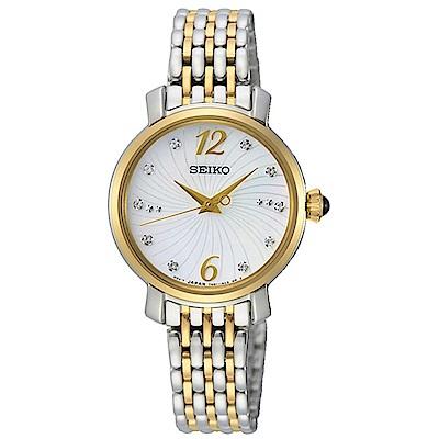 SEIKO 精工珍珠貝雙色施華洛世奇水晶女錶-金色28mmSPZ522P1
