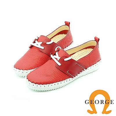 【GEORGE 喬治皮鞋】-舒活系列 素面縫線綁帶懶人鞋平底鞋-紅