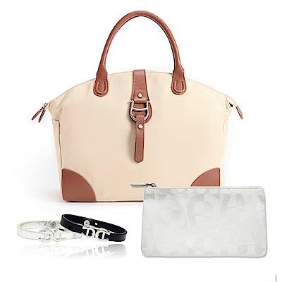 Aigner 愛格納 福袋組 PICO系列素色尼龍提包+白色緹花化妝包+小牛皮手環