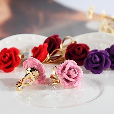 Hera赫拉 粉色玫瑰花耳釘耳夾