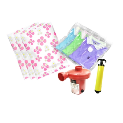 LISAN行家首選真空收納袋(玫紅系列)全方位27件組【內附電動打氣機、抽氣幫浦】