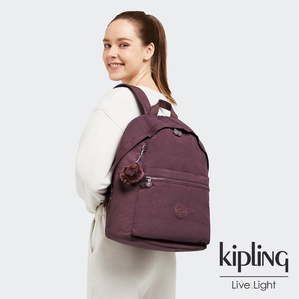Kipling 秋日栗糖色大容量造型簡約後背包-REPOSA L
