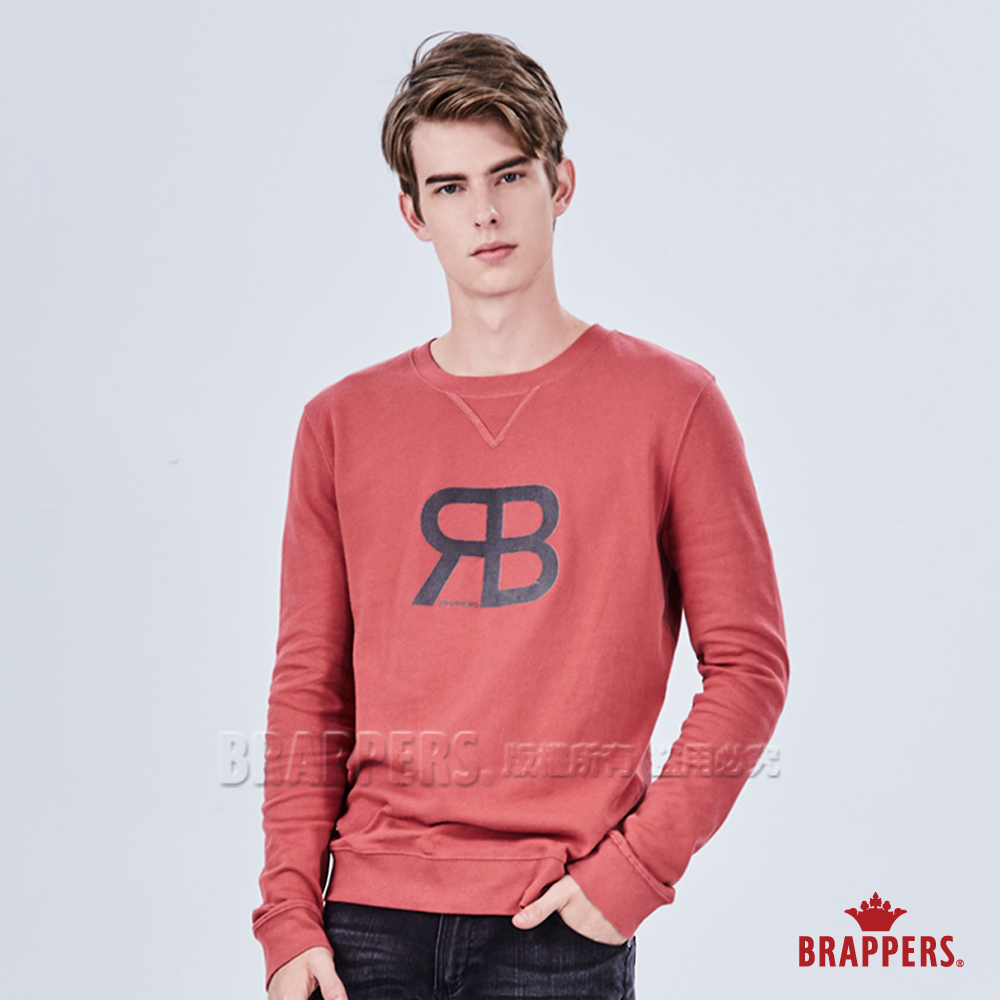 BRAPPERS 男款 LOGO植絨印花長袖T恤-磚紅