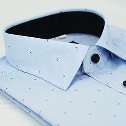 金‧安德森 藍色雙點黑內領窄版長袖襯衫fast