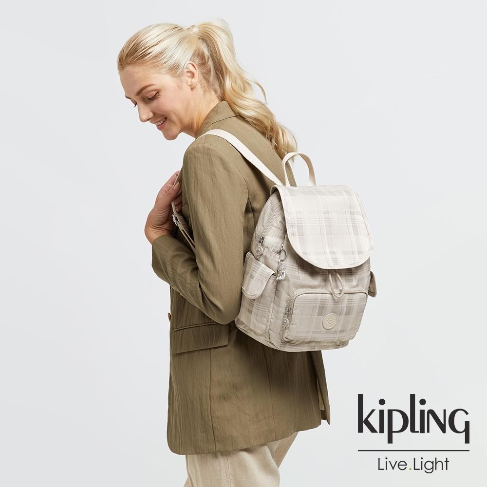 Kipling 溫柔奶油格紋拉鍊掀蓋後背包-CITY PACK S
