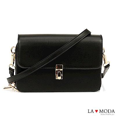 La Moda 優雅氣質首選超實用輕便雙層肩背斜背小方包(黑)