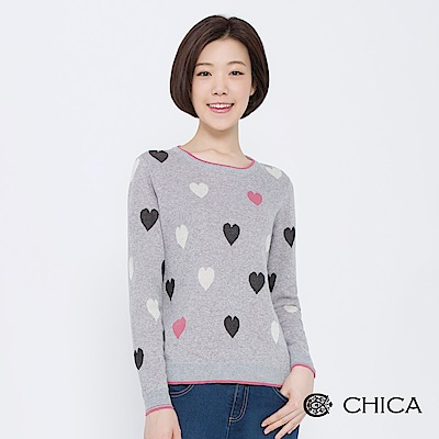 CHICA 復古學院滿版撞色愛心針織衫(2色)