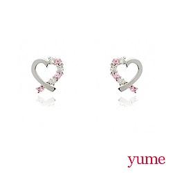 YUME - K金緞帶愛心晶鑽耳環