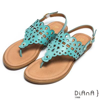DIANA 時尚甜美-牛皮雷射鏤空幾何圖形夾腳涼鞋-薄荷綠