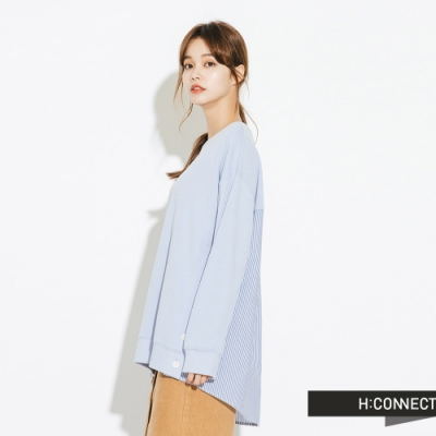 H:CONNECT 韓國品牌 女裝-條紋拼接排扣上衣-藍