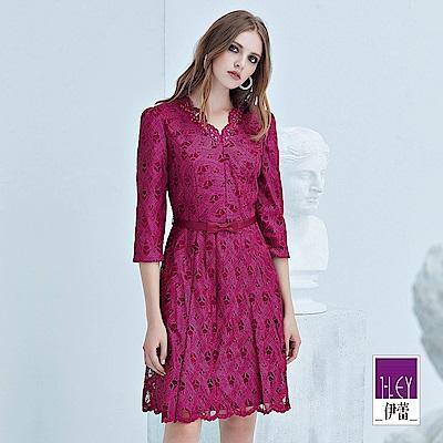 ILEY伊蕾 幾何蕾絲花苞V領洋裝(紫)