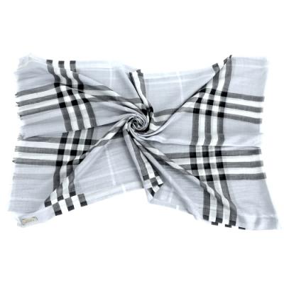 [輕保暖限定] BURBERRY 格紋混絲羊毛披肩圍巾-領券現折