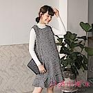日系小媽咪孕婦裝-二件式小香風魚尾裙襬針織洋裝 (共二色)