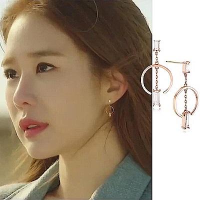 梨花HaNA  韓國925銀觸及真心劉仁娜C型方鑽耳環