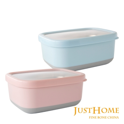 Just Home 304不鏽鋼附蓋方型隔熱保鮮盒1.9L(2件組)
